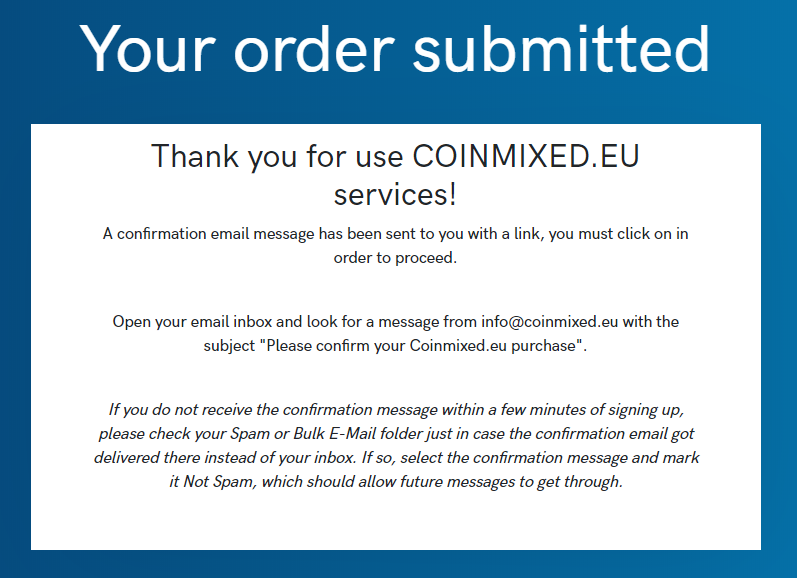 Buy Bitcoin Order submitted